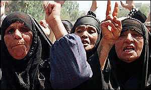Iraqi women protest sanctions they said hurt their children.